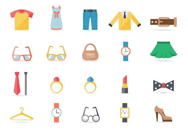 Vários ícones temáticos de roupas e acessórios