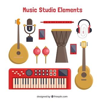 Vários instrumentos musicais em design plano