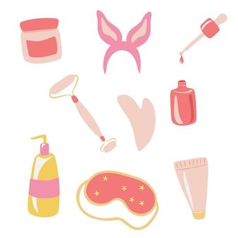 Vários itens de cosméticos cuidado corporal e facial guache creme para limpeza de óleo de massagem