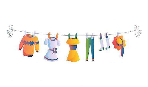 Vários itens de roupas de bebê na ilustração de corda isolada no fundo branco. lavanderia realizada por estacas de plástico de secagem