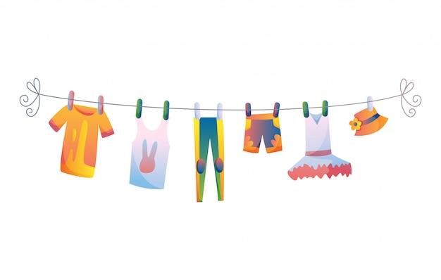 Vários itens de roupas de bebê na ilustração de corda isolada no fundo branco.