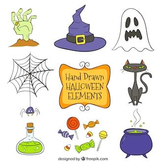 Vários itens do dia das bruxas desenhados à mão