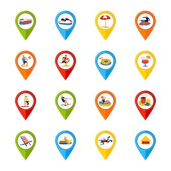 Vários, locais, sinais, coloridos, ícones, jogo