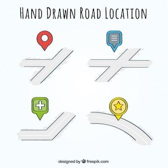 Vários localização estrada desenhada à mão