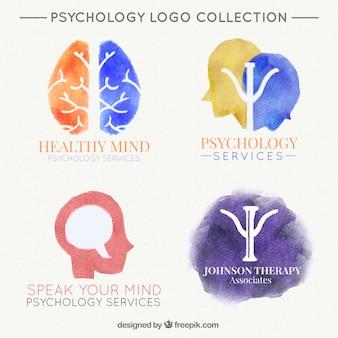 Vários logotipos aquarela para a clínica psicológica