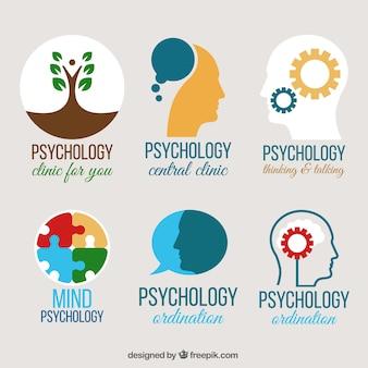 Vários logotipos psicologia em design plano