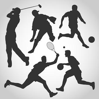 Vários, macho, esportes, silueta