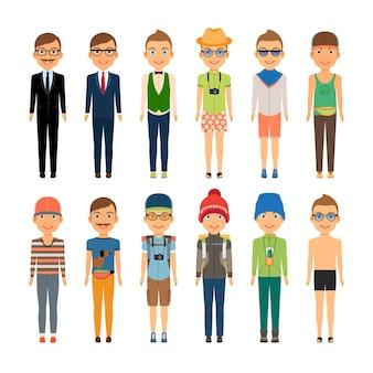 Vários meninos bonitos de desenho animado em diversos estilos de roupas - viagens de negócios na praia e moda casual - isolado no fundo branco