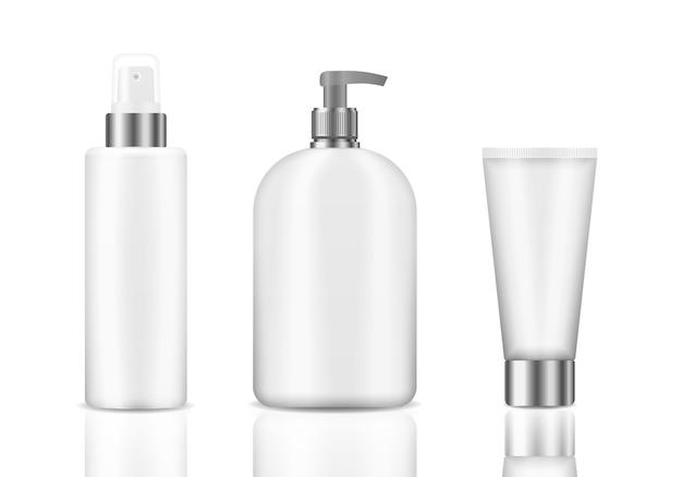 Vários modelos 3d de recipientes em branco, incluindo jarra, garrafa de bomba, tubo de creme isolado no fundo branco. conjunto de frascos de cosméticos brancos realistas. pacote cosmético realista.