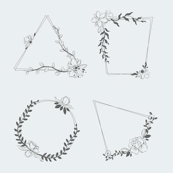 Vários modelos de coleção floral