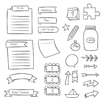 Vários modelos de diário com marcadores desenhados à mão