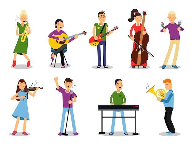 Vários músicos, personagens na ilustração de estilo simples