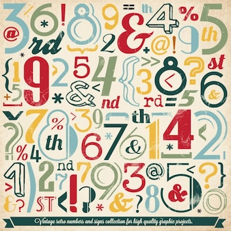 Vários número vintage e cobrança tipografia