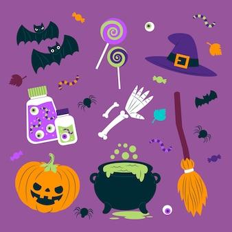 Vários objetos assustadores elementos do dia das bruxas