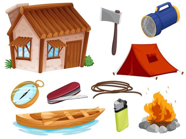 Vários objetos de camping