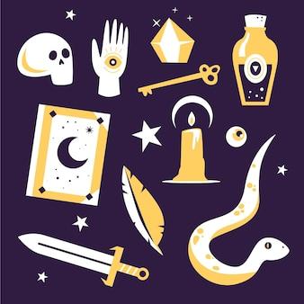 Vários objetos e elementos esotéricos de cobra