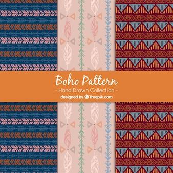 Vários padrões boho desenhados à mão
