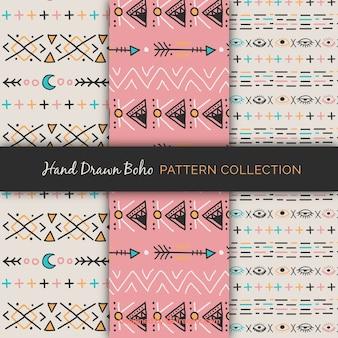 Vários padrões com elementos étnicos desenhados à mão
