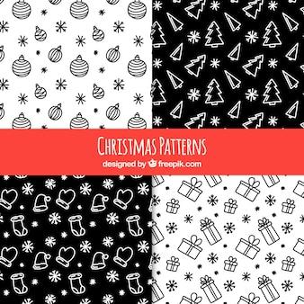 Vários padrões com esboços de natal