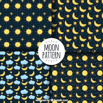Vários padrões com luas e estrelas