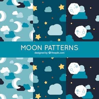 Vários padrões com luas e nuvens em design plano