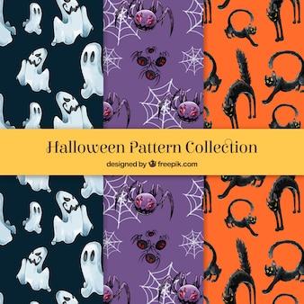 Vários padrões de aguarela de halloween