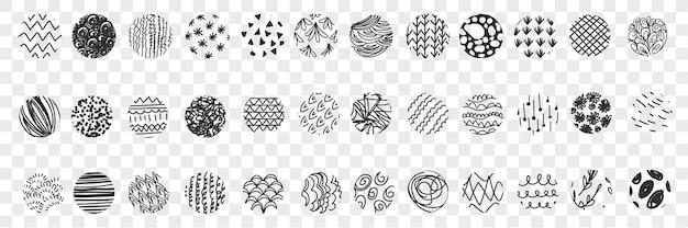 Vários padrões de bolas doodle conjunto de ilustração