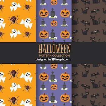 Vários padrões de halloween