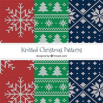 Vários padrões de Natal de malha