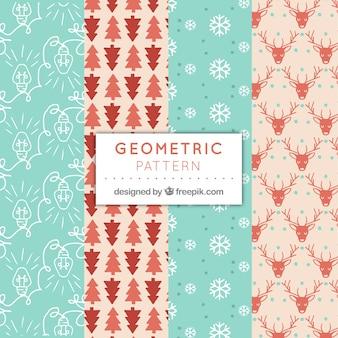 Vários padrões de natal geométricos