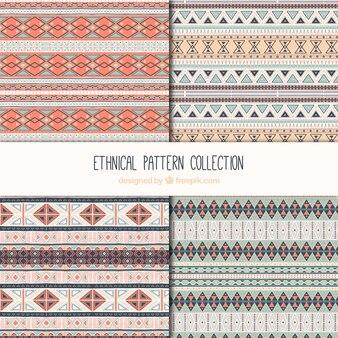 Vários padrões étnicos com formas geométricas decorativas
