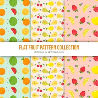 Vários padrões planos com frutas saborosas