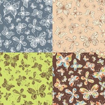 Vários padrões sem emenda com borboletas ornamentadas.