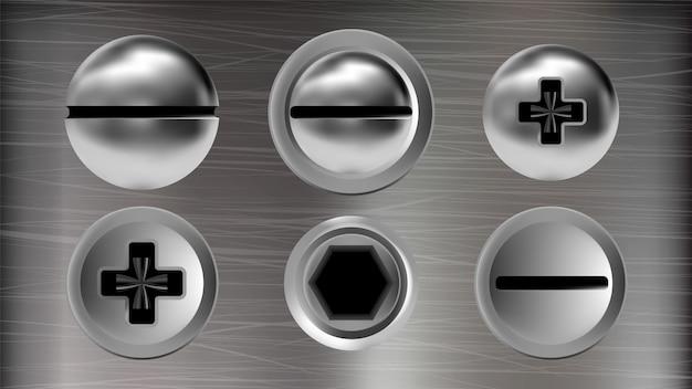 Vários parafusos de metal e cabeças de parafusos