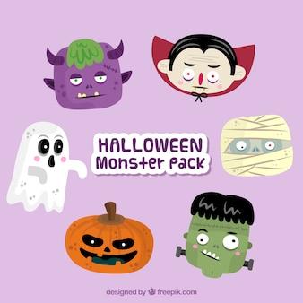 Vários personagens agradáveis do dia das bruxas