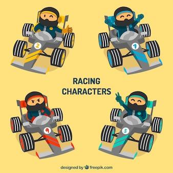 Vários personagens de corrida f1