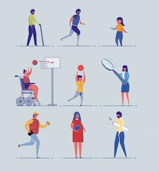 Vários personagens de pessoas de idade, saúde e gênero