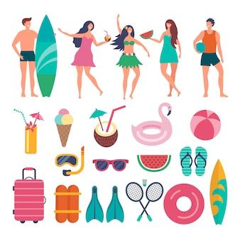 Vários personagens de viajantes de verão