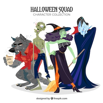 Vários personagens desenhados a mão de halloween
