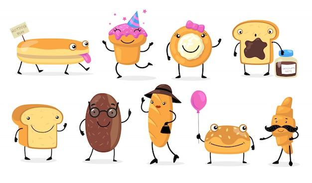 Vários personagens engraçados de pão