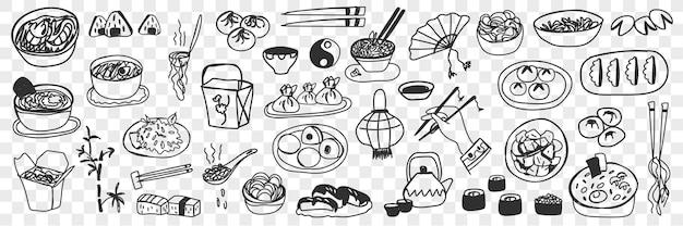 Vários pratos japoneses chineses doodle conjunto. coleção de mão desenhada sushi maki, rolinhos primavera, arroz cozido no vapor e bolinhos como cozinha nacional isolada.
