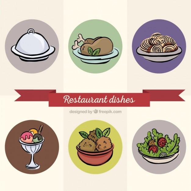 Vários pratos restaurante