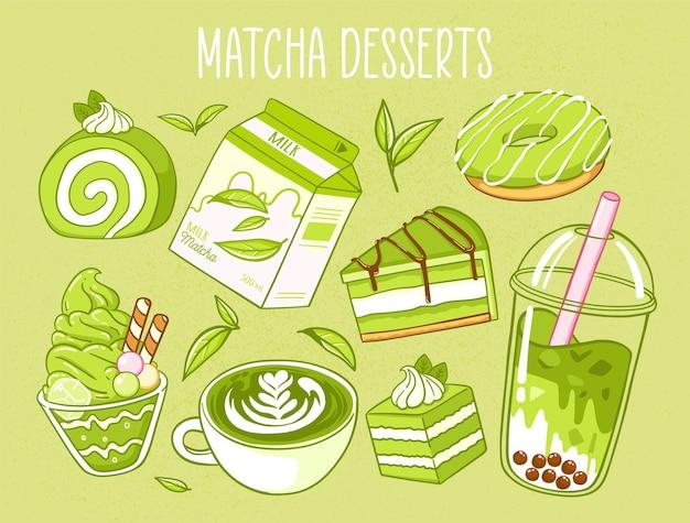 Vários produtos de chá matcha comida japonesa matcha chá leite donut torta de sorvete de chá