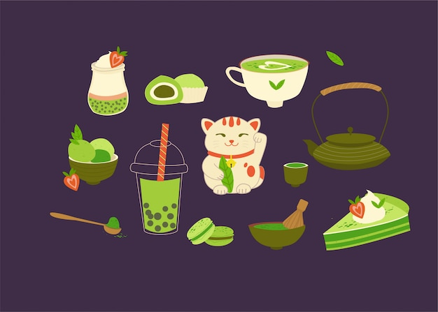 Vários produtos de chá matcha. matcha em pó, macarons, sorvete, bolo, bule, bebida, chá, folhas de chá, gato da sorte, iogurte de quinoa.