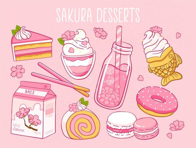 Vários produtos sakura comida japonesa sakura chá, leite, donut, macarons, torta de sorvete