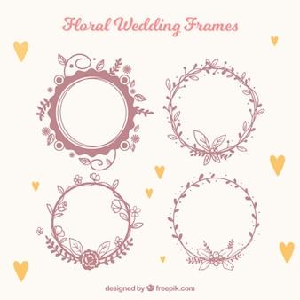 Vários quadros florais do casamento