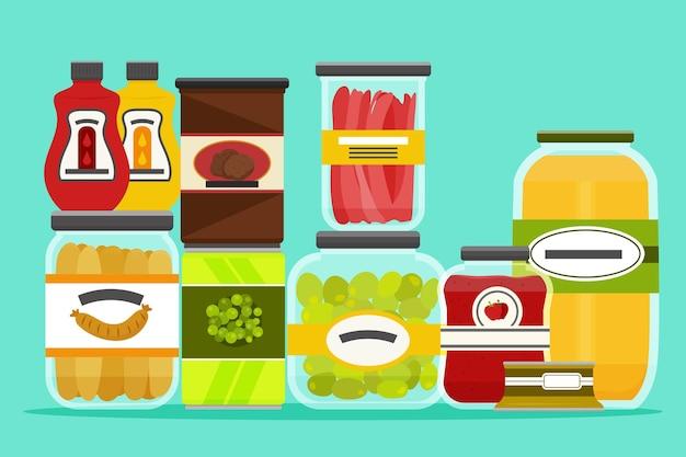 Vários recipientes para ingredientes alimentícios