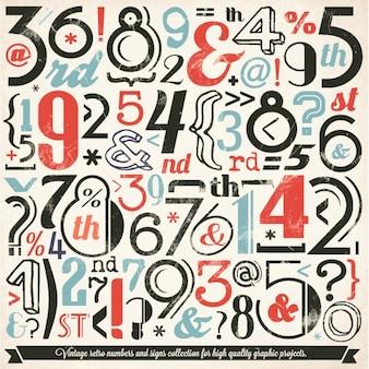 Vários retro número vintage e cobrança tipografia