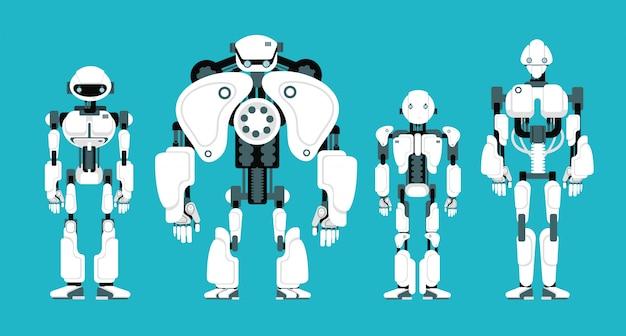 Vários robôs andróides