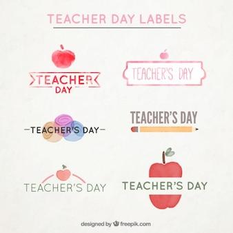 Vários rótulos aguarela para o dia do professor